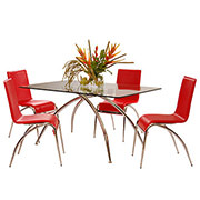 Elaine Red 5-Piece Casual Dining Set  alternate image, 2 of 9 images.