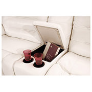 Sheree White Power Motion Leather Sofa w/Right & Left Recliners  alternate image, 3 of 7 images.