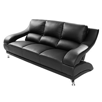 Jedda Black Leather Sofa
