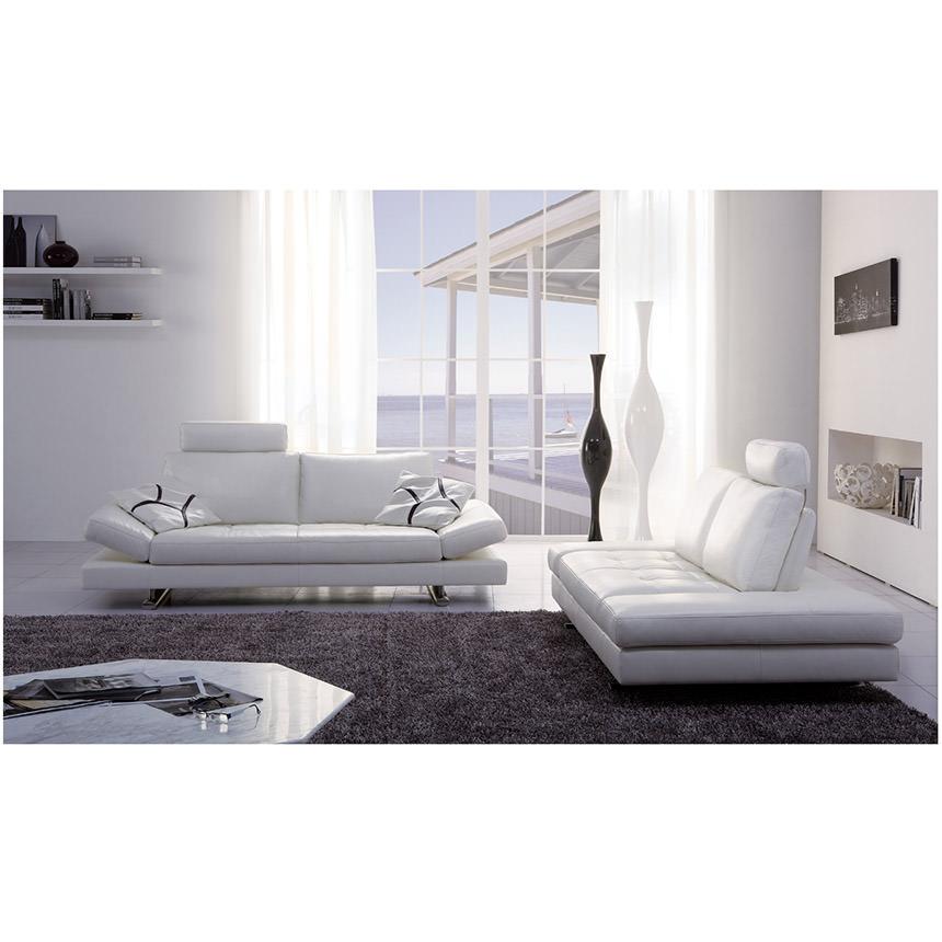Gertrudes White Leather Sofa   El Dorado Furniture