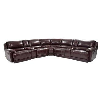 Theodore Brown Power Motion Leather Sofa w/Right & Left Recliners
