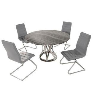 Janet Marble/Gray 5-Piece Formal Dining Set