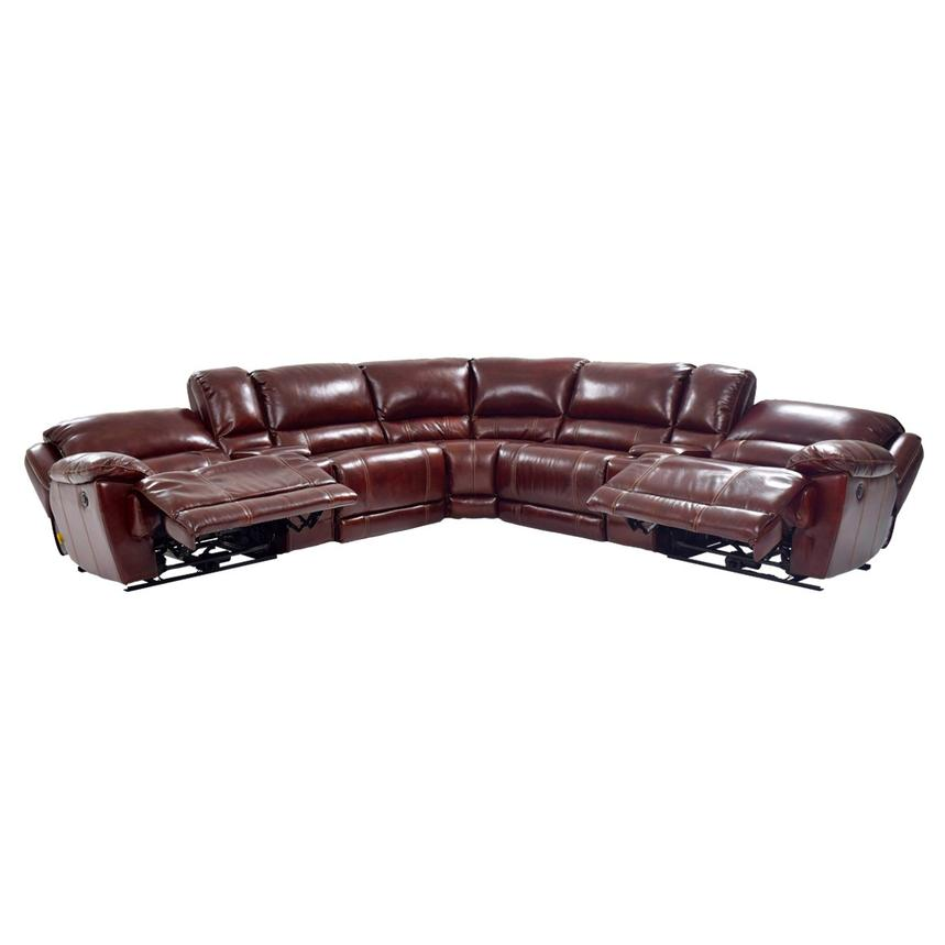Theodore Burgundy Power Motion Leather Sofa w/Right & Left Recliners  alternate image, 4 of 9 images.