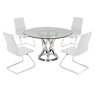 Janet Clear/White 5-Piece Casual Dining Set