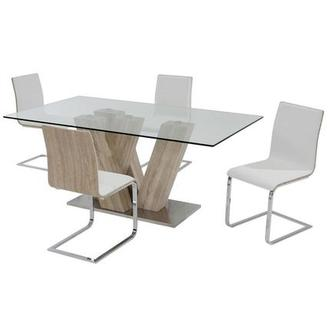 Solimar White 5-Piece Casual Dining Set