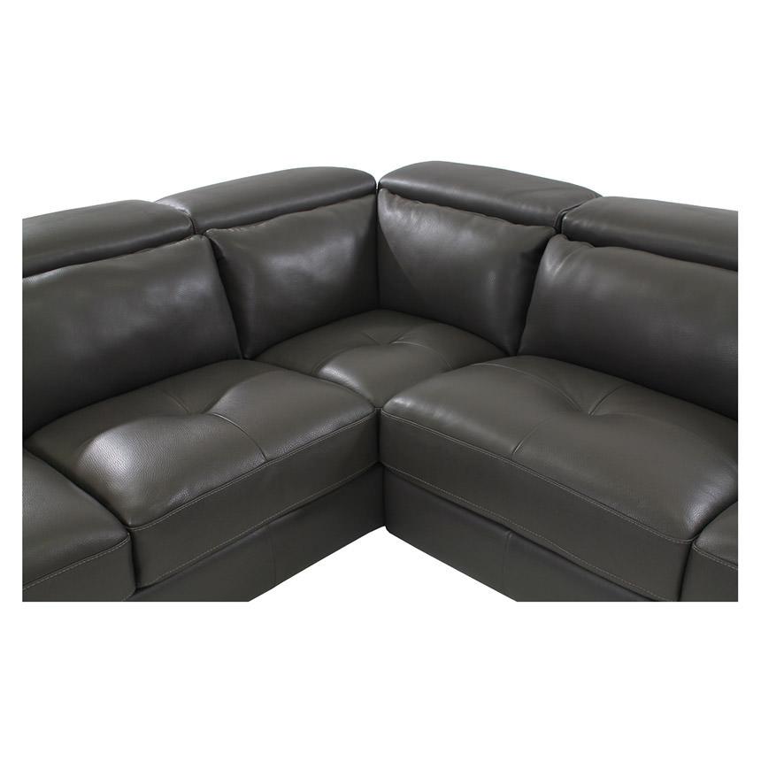 Kennedy Dark Gray Leather Sofa W Left Chaise El Dorado