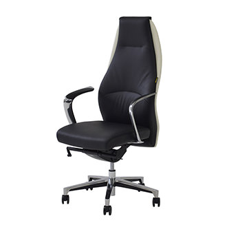 Prector Black/White Leather Desk Chair