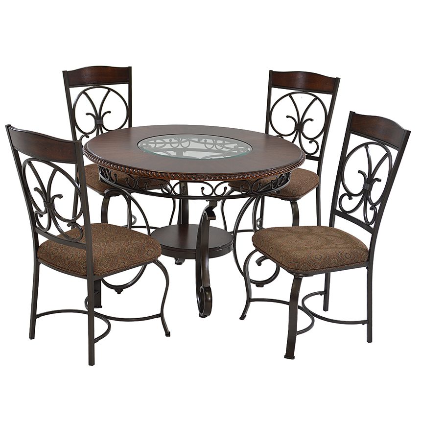 Elegant Glambrey 5 Piece Casual Dining Set Main Image, 1 Of 10 Images.
