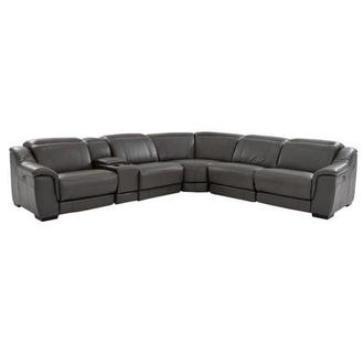 Davis Gray Power Motion Leather Sofa w/Right & Left Recliners
