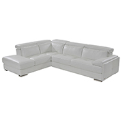 Kennedy White Leather Sofa w/Left Chaise  alternate image, 2 of 8 images.