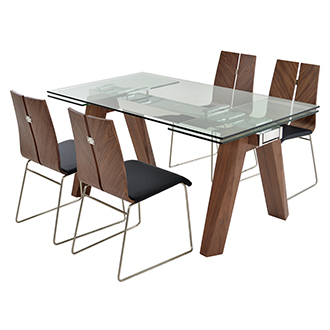 Valencia Brown/Black 5-Piece Formal Dining Set