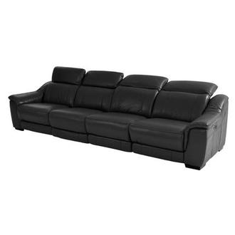 Davis Black Oversized Leather Sofa