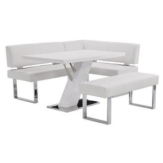 Linden White Right Corner Nook Set w/Bench