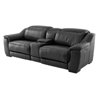 Davis Black Power Motion Leather Sofa w/Console