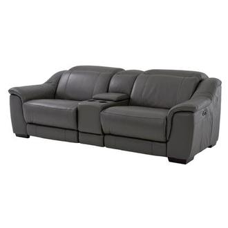 Davis Gray Power Motion Leather Sofa w/Console