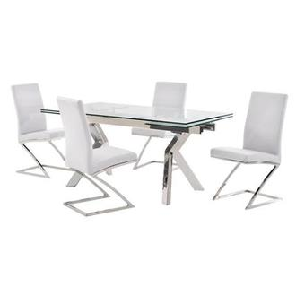 Ella Clear/Jade White 5-Piece Formal Dining Set