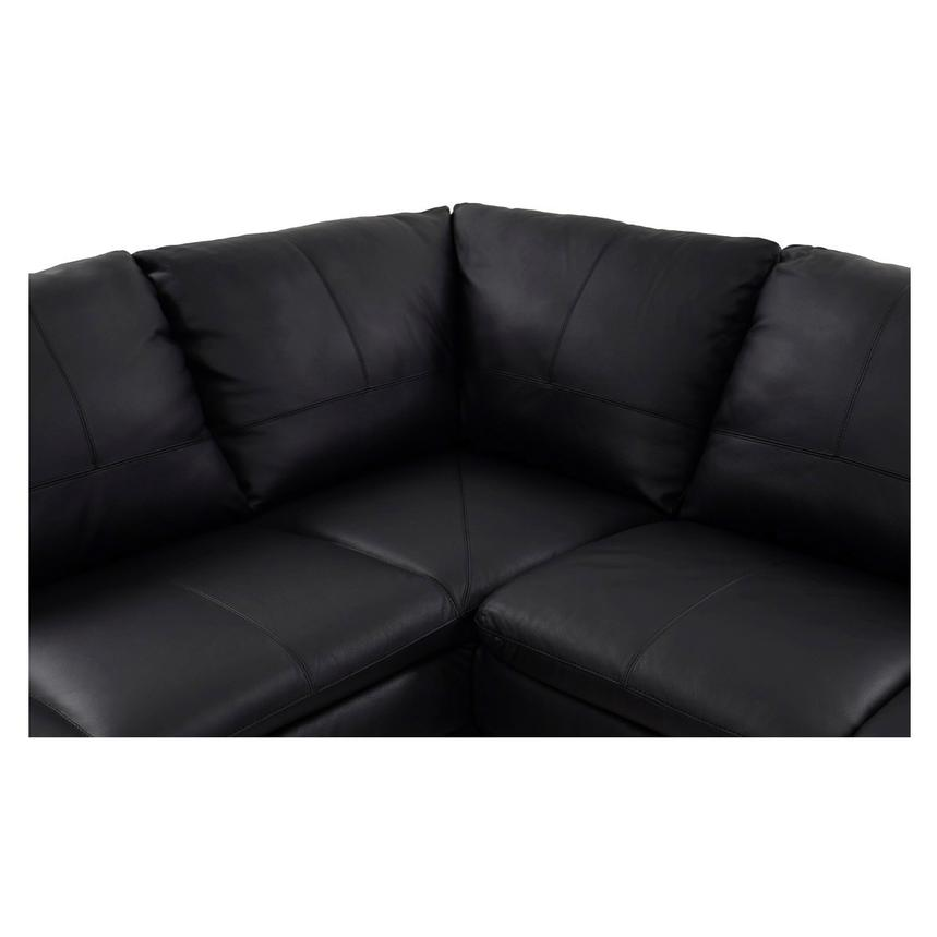 Rio Black Leather Sofa w/Left Chaise  alternate image, 5 of 8 images.