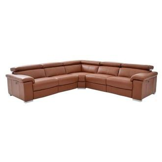 Nathan Tan Power Motion Leather Sofa w/Right & Left Recliners