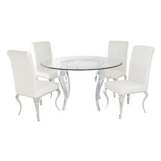Letticia/Lizbon 5-Piece Round Formal Dining Set