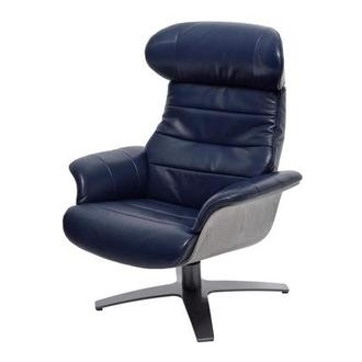 Enzo Dark Blue Leather Swivel Chair