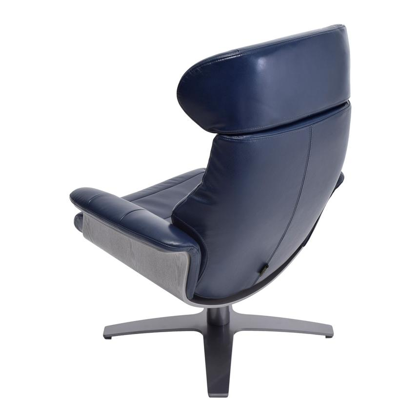 Enzo Dark Blue Leather Swivel Chair El Dorado Furniture