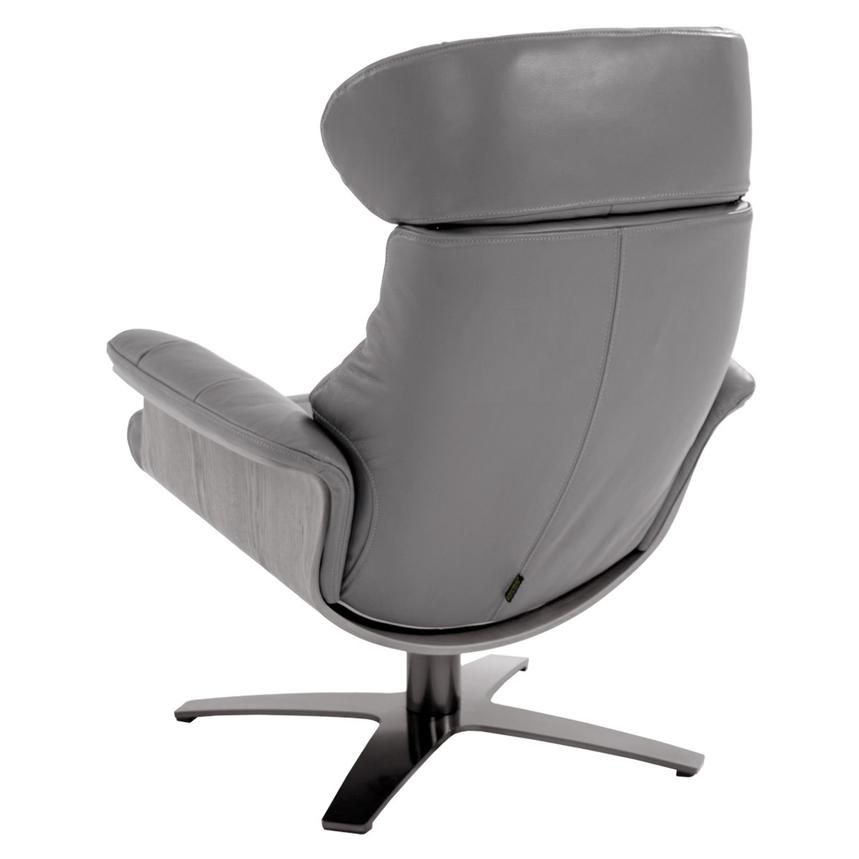 Enzo Gray Leather Swivel Chair Alternate Image, 4 Of 10 Images.