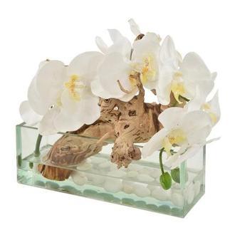 Dulce Orchids White Flower Arrangement El Dorado Furniture