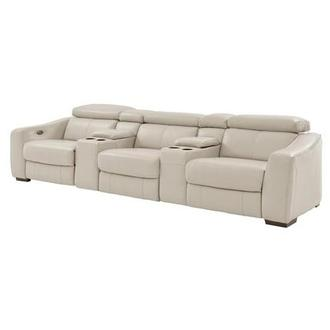 James Cream Home Theater Leather Seating