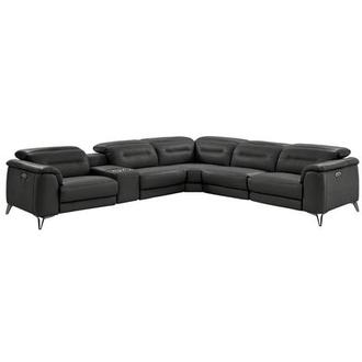 Anabel Gray Motion Leather Sofa W Right Left Recliners
