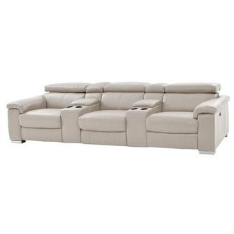 Nathan Cream Home Theater Leather Seating