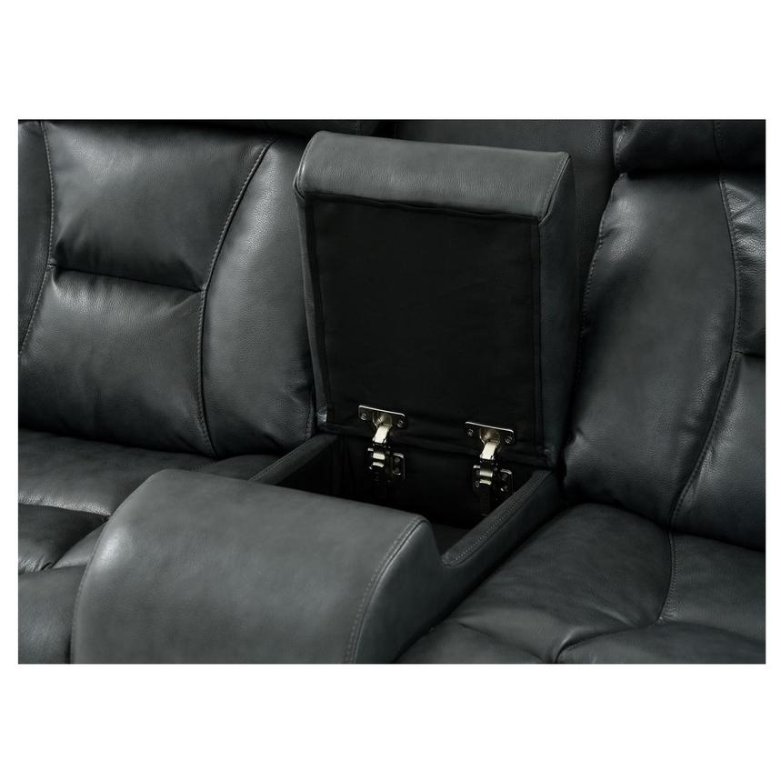 Gio Gray Power Motion Leather Sofa w/Console  alternate image, 5 of 12 images.