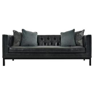 Sophia Black Leather Sofa