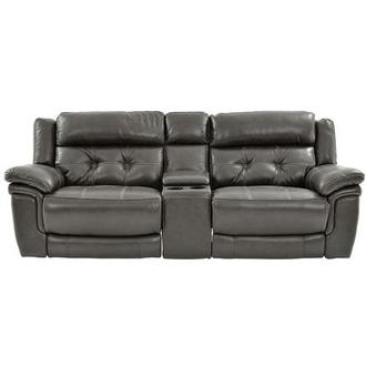 Stallion Gray Leather Sofa w/Console
