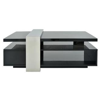 Totem Black Coffee Table w/Casters