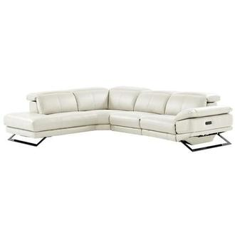 Toronto White Power Motion Leather Sofa w/Left Chaise