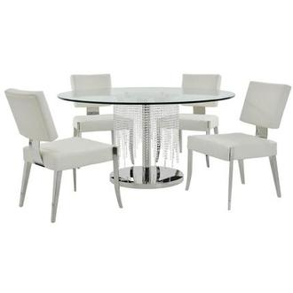 Turin/Tina White 5-Piece Formal Dining Set
