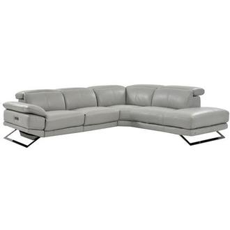 Toronto Light Gray Power Motion Leather Sofa w/Right Chaise