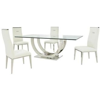 Ulysis/Hyde White 5-Piece Formal Dining Set