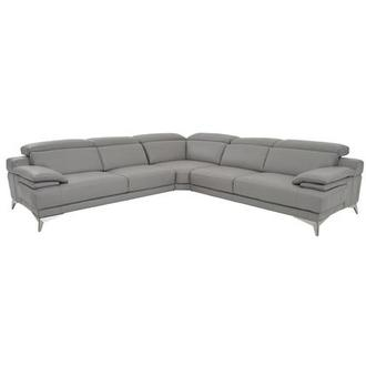 Idris Grey Leather Sofa