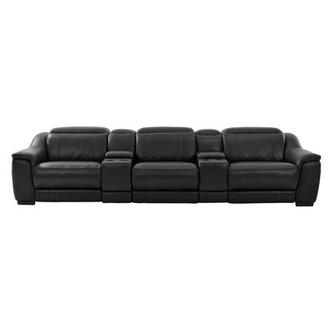Davis Black Home Theater Leather Seating