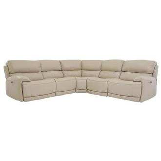 Cody Cream Power Motion Leather Sofa w/Right & Left Recliners