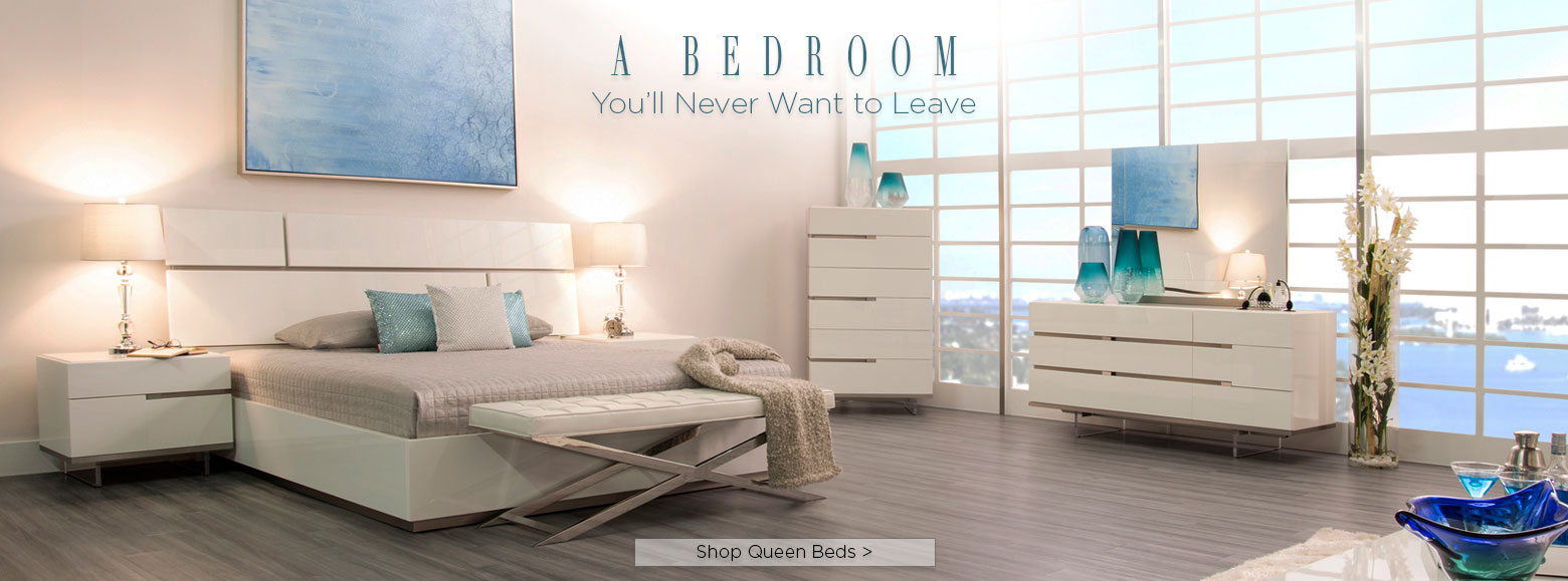 A bedroom you'll never want to leave. Shop Queen beds.