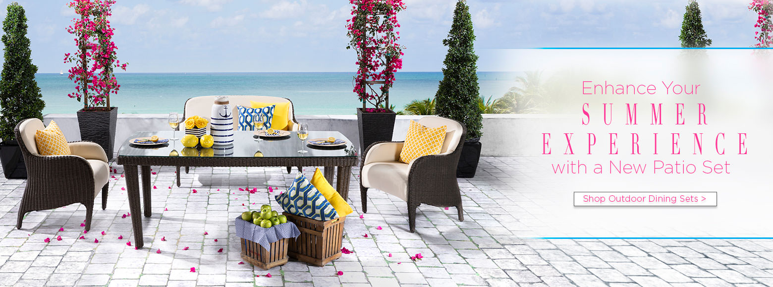 Enhance your summer experience with a new patio set. Shop outdoor dining sets.