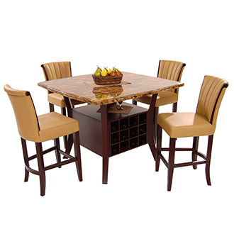 Meredith Tan 5-Piece Counter Dining Set