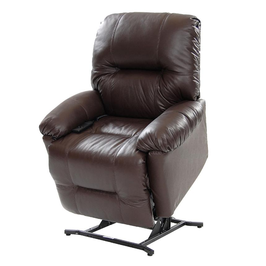 Wynette Brown Leather Power Lift Recliner  main image, 1 of 10 images.
