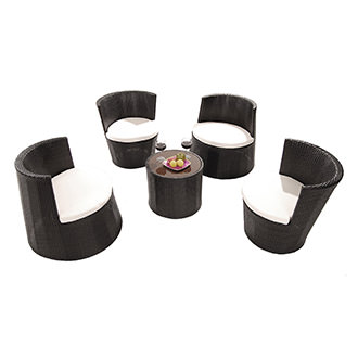 Tower Black 5-Piece Patio Set (Sold By Set Only)