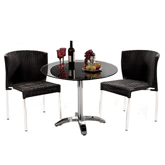 Gerald Black 3-Piece Patio Set w/10mm Glass Top