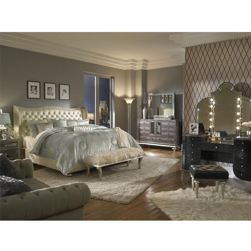 Hollywood Swank Pearl King Platform Bed  alternate image, 2 of 7 images.
