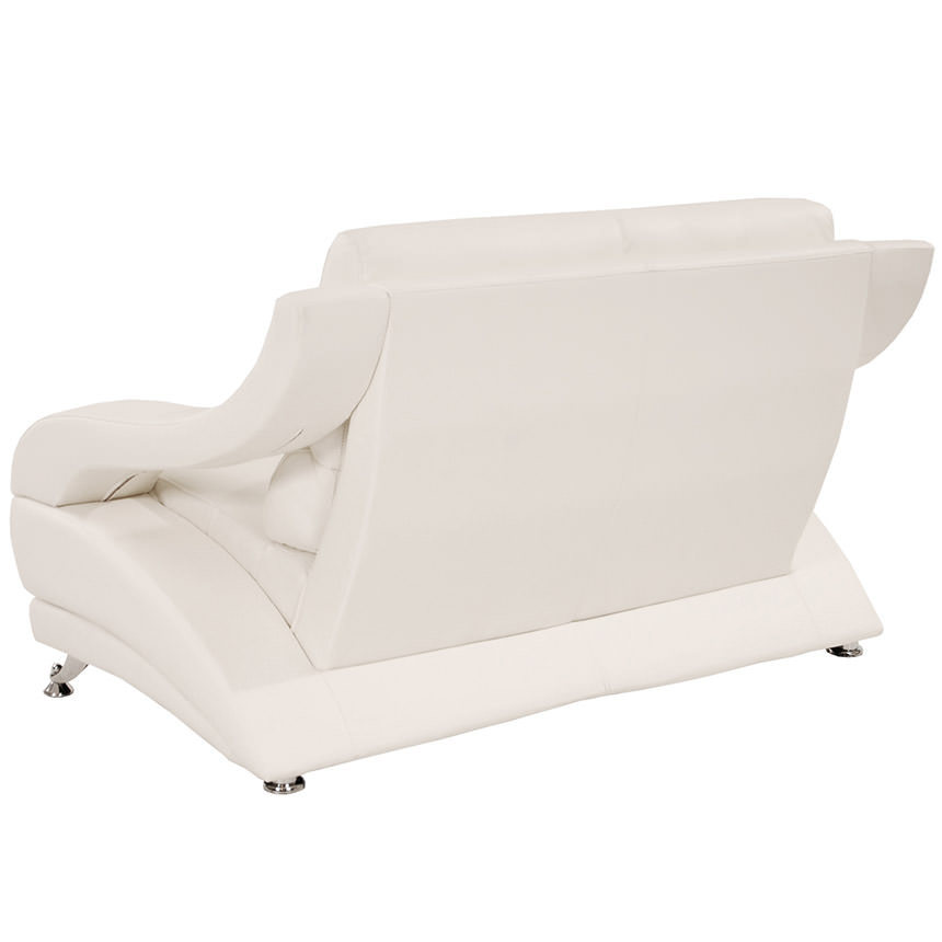 Jedda White Leather Loveseat  alternate image, 3 of 6 images.
