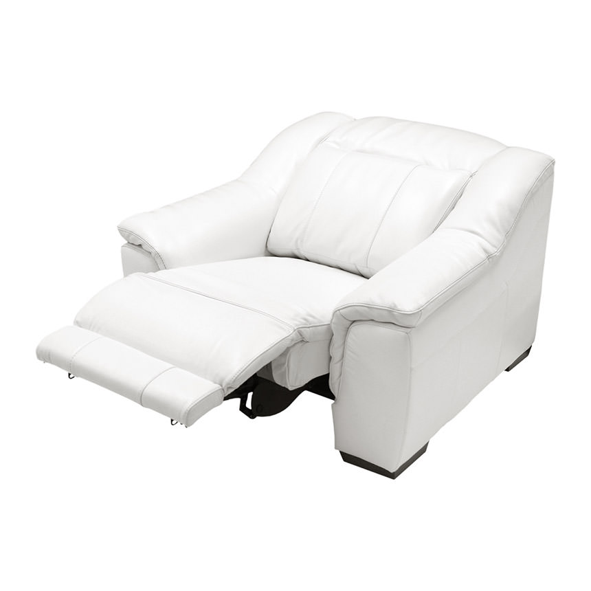 Davis White Power Motion Leather Recliner El Dorado